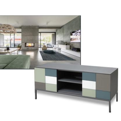 Meuble TV pieds métal couleurs tendances 034